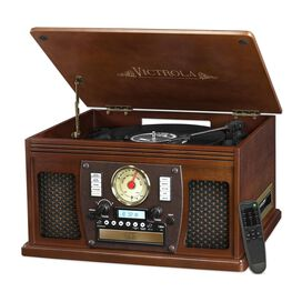 Victrola Wood 8-in-1 Nostalgic Bluetooth Record Player with USB Encoding and 3-speed Turntable