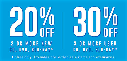 20% off 2 or more new CD, DVD, or BLU-RAY or 30% off 3 or more used CD, DVD, or BLU-RAY (excludes Pre-order, sale items and exclusives) - Shop Now!