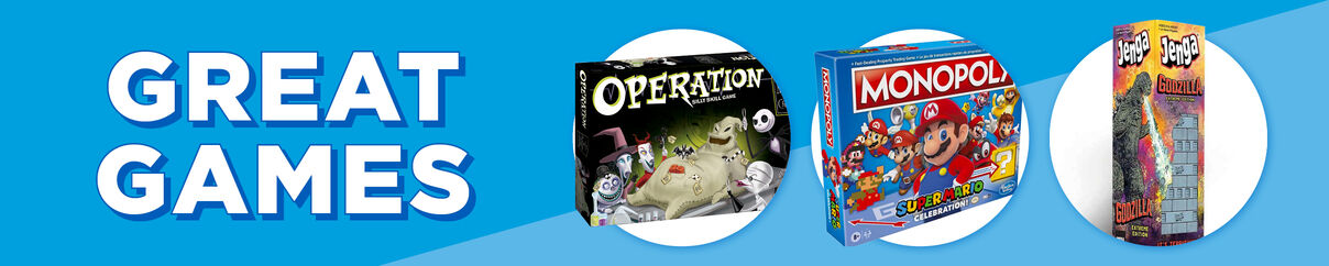 Great Games! Featuring Nightmare Before Christmas Operation, Garbage Pail Kids Playing Cards and Godzilla Jenga! Shop Now!
