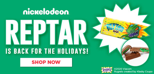 Nickelodeon Reptar Is Back For The Holidays With Green Frosting Filled Chocolate Bars!  Turns Your Tongue Green! - Shop Now!