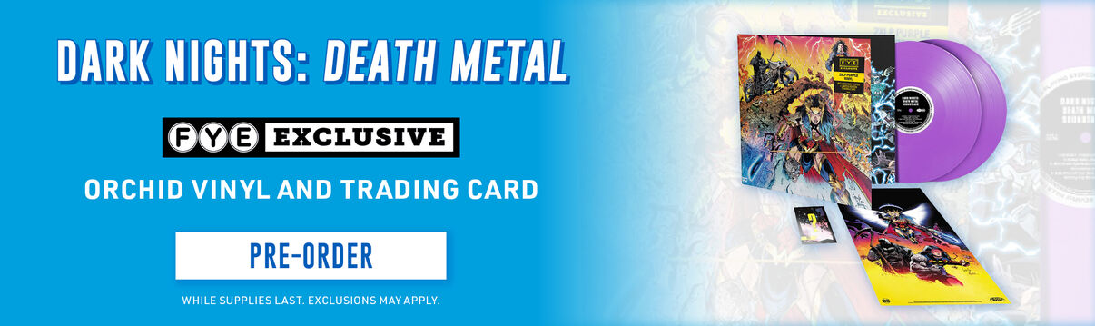 Dark Knights: Death Metal FYE Exclusive [Orchid Vinyl And Trading Card] - Shop Now!