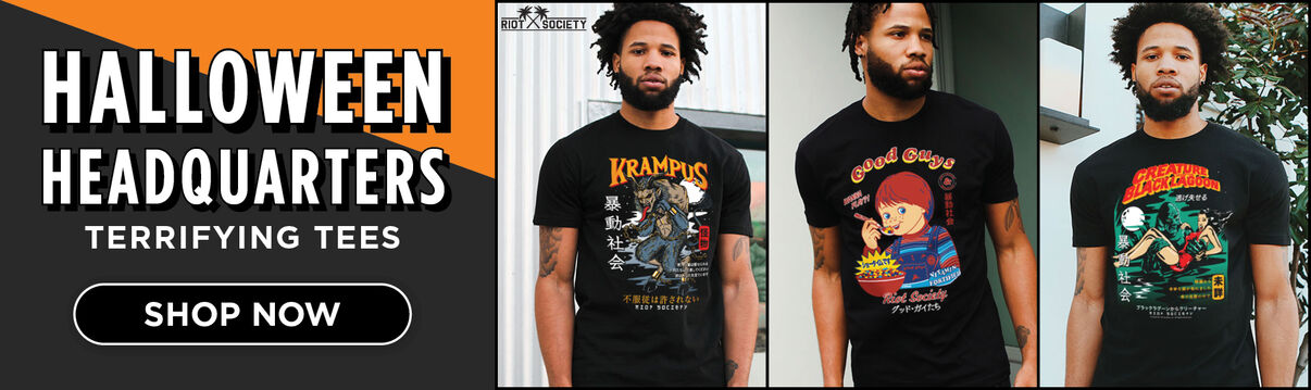 Halloween Headquarters Terrifying Tees:  Riot Society Featuring:  Krampus, Chucky, & Creature of the Black Lagoon - Shop Now!