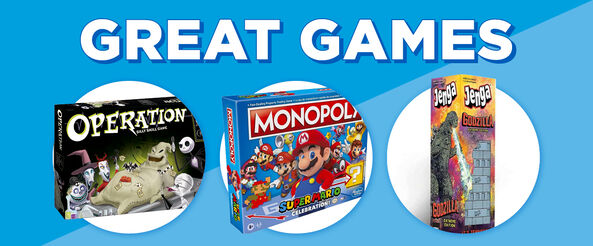 Great Games! Featuring Nightmare Before Christmas Operation, Super Mario Monopoly and Godzilla Jenga! Shop Now!