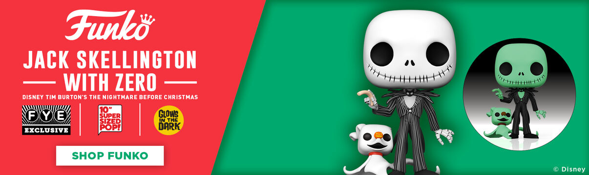 "FYE Exclusive Disney Tim Burton's The Nightmare Before Christmas Glow In The Dark 10"" Funko Jack Skellington With Zero - Shop Funko!"