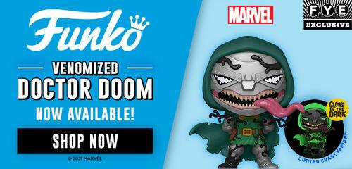 FYE Exclusive Funko Pop: Marvel Venomized Doctor Doom Glow In The Dark - Shop Now!