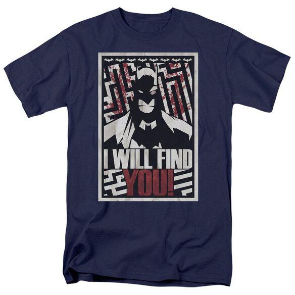 Batman I Will Fnd You Short Sleeve Adult Navy T-Shirt