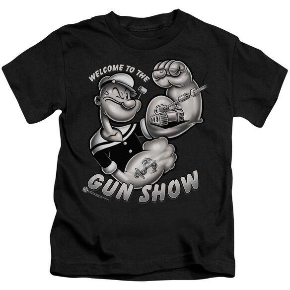 Popeye Gun Show Short Sleeve Juvenile Black T-Shirt