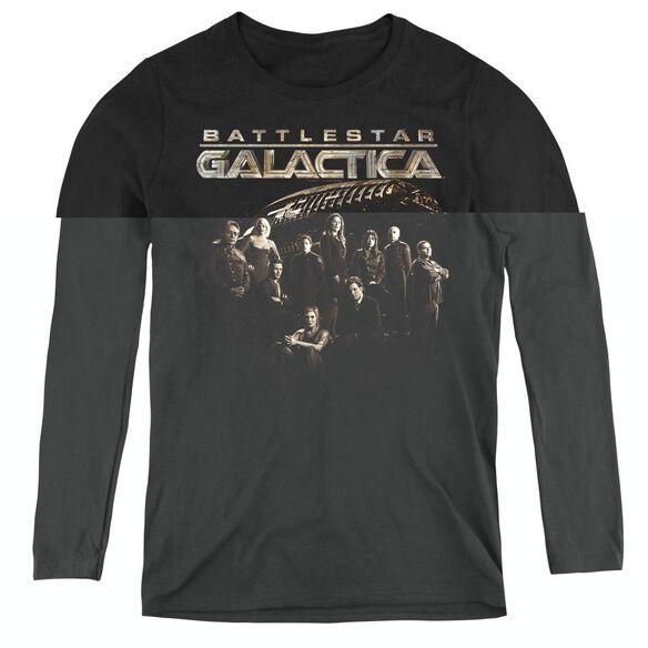Battlestar Galactica Battle Cast - Womens Long Sleeve Tee - Black