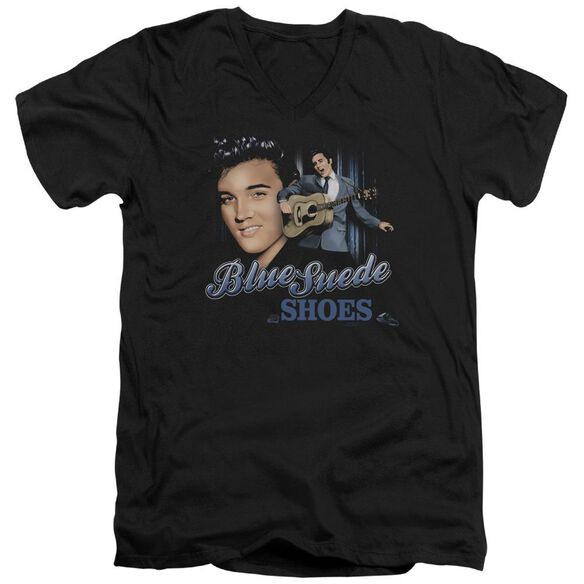 ELVIS PRESLEY BLUE SUEDE SHOES - S/S ADULT V-NECK - BLACK T-Shirt