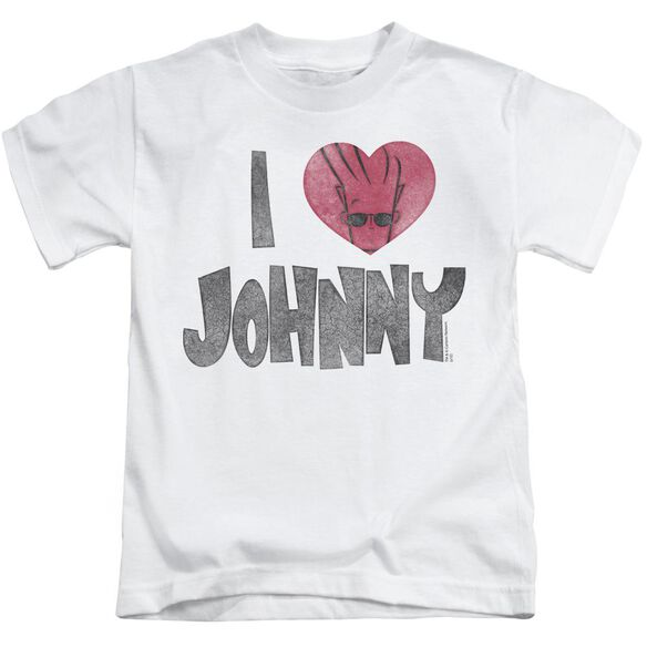 Johnny Bravo I Heart Johnny Short Sleeve Juvenile White T-Shirt