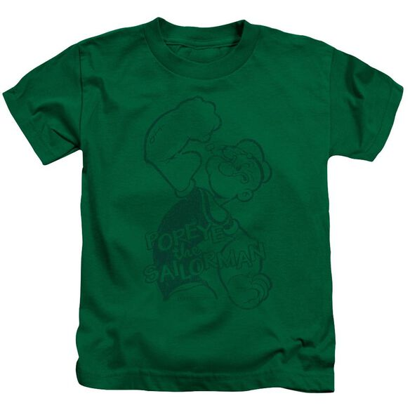 Popeye Spinach Strong Short Sleeve Juvenile Kelly Green T-Shirt