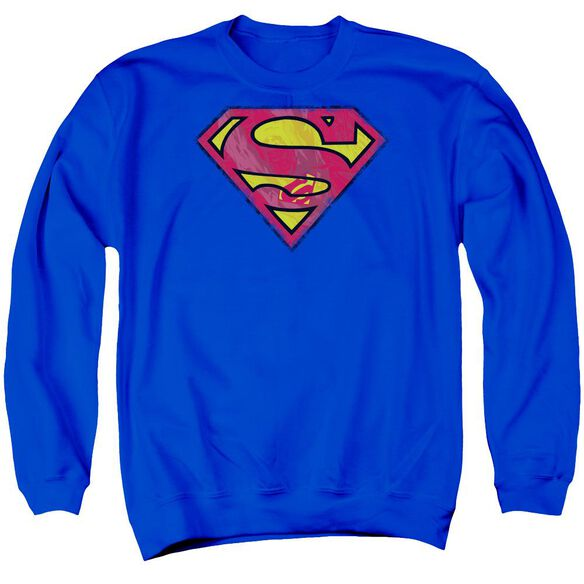 Superman Action Shield Adult Crewneck Sweatshirt Royal