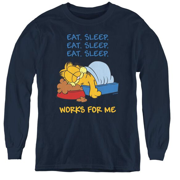 Garfield Works For Me - Youth Long Sleeve Tee - Navy