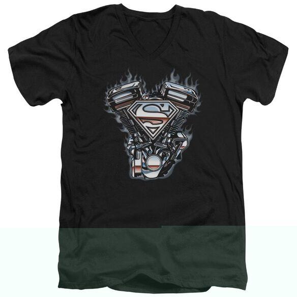 SUPERMAN V TWIN LOGO - S/S ADULT V-NECK - BLACK T-Shirt