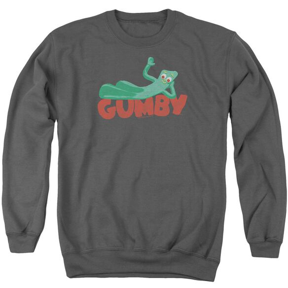 Gumby On Logo Adult Crewneck Sweatshirt