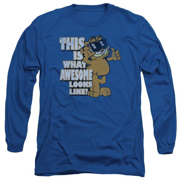 Garfield Awesome Long Sleeve Adult Royal T-Shirt