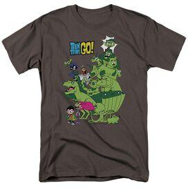 Teen Titans Go Beast Boy Stack Short Sleeve Adult Charcoal T-Shirt