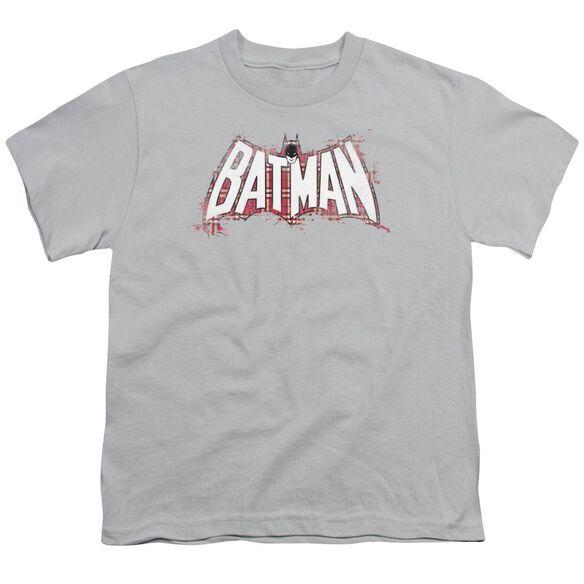 Batman Plaid Splat Logo Short Sleeve Youth T-Shirt