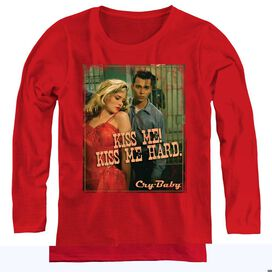 CRY BABY KISS ME - WOMENS LONG SLEEVE TEE - RED - SM - RED