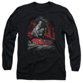 SUPERMAN MAN OF STEEL - L/S ADULT 18/1 - BLACK T-Shirt