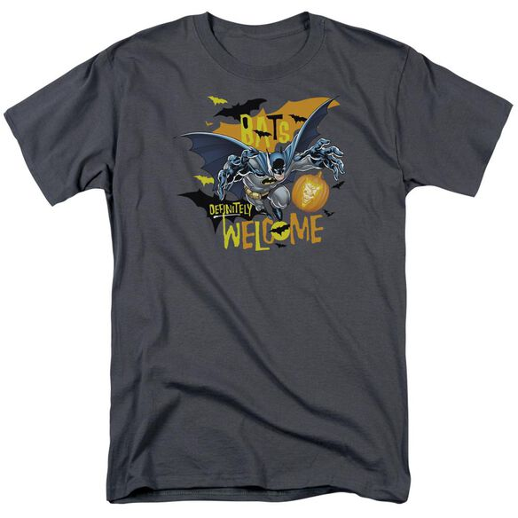 Batman Bats Welcome Short Sleeve Adult Charcoal T-Shirt