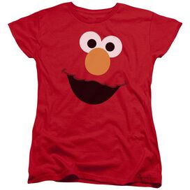 Sesame Street Elmo Face Short Sleeve Women's Tee Red T-Shirt