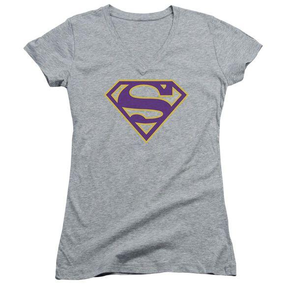 Superman Purple & Gold Shield Junior V Neck Athletic T-Shirt