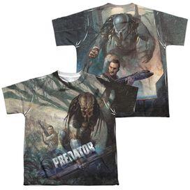 Predator Stalk (Front Back Print) Short Sleeve Youth Poly Crew T-Shirt