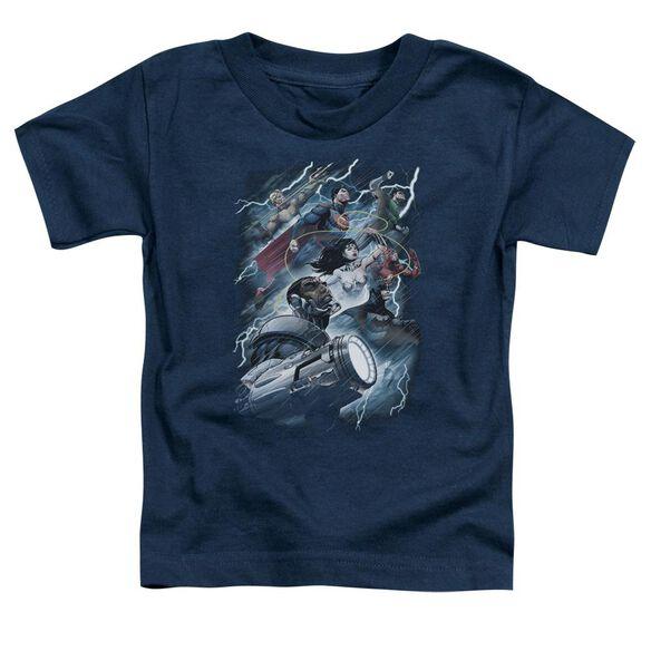 Jla Ride The Lightening Short Sleeve Toddler Tee Navy Sm T-Shirt