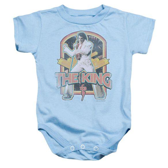 Elvis Distressed King Infant Snapsuit Light Blue