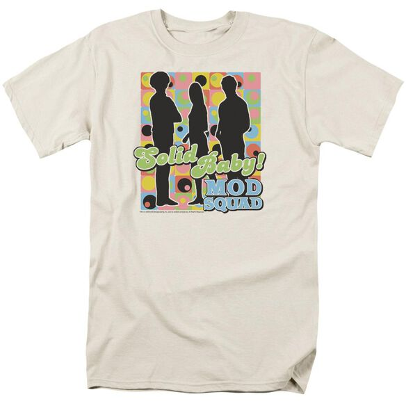 Mod Squad Solid Mod Pattern Short Sleeve Adult Cream T-Shirt