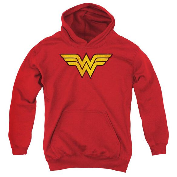 Dc Wonder Woman Logo Dist-youth Pull-over Hoodie - Red
