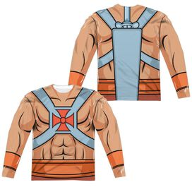 Masters Of The Universe He Man Costumes (Front Back Print) Long Sleeve Adult Poly Crew T-Shirt