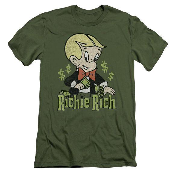 Richie Rich Rich Logo Short Sleeve Adult Military T-Shirt