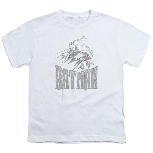 BATMAN KNIGHT SKETCH - S/S YOUTH 18/1 - WHITE T-Shirt