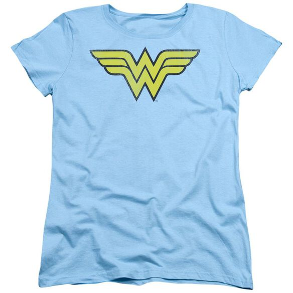 Dc Ww Logo Distressed Short Sleeve Womens Tee Light T-Shirt