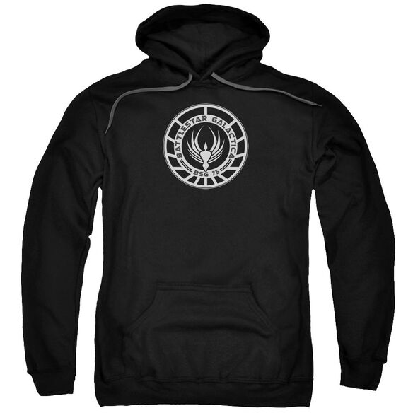 Bsg Galactica Badge Adult Pull Over Hoodie Black