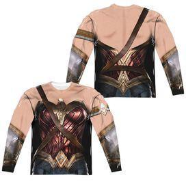 Justice League Movie Wonder Woman Uniform (Front Back Print) Long Sleeve Adult Poly Crew T-Shirt