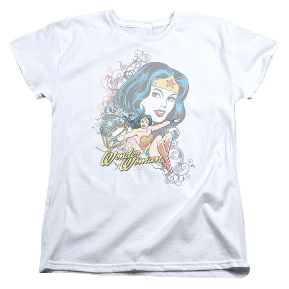 Dc Wonder Scroll Short Sleeve Womens Tee T-Shirt