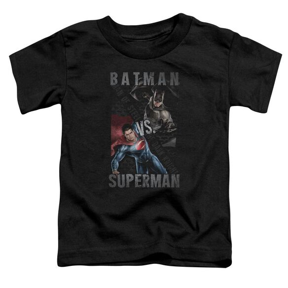 Batman Vs Superman Hero Split Short Sleeve Toddler Tee Black T-Shirt