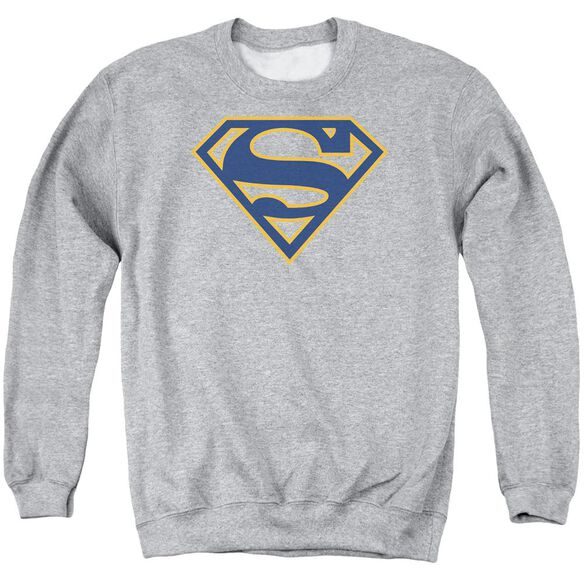 Superman Navy & Orange Shield - Adult Crewneck Sweatshirt - Athletic Heather