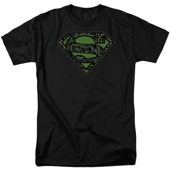 SUPERMAN CIRCUITS SHIELD - S/S ADULT 18/1 - BLACK T-Shirt