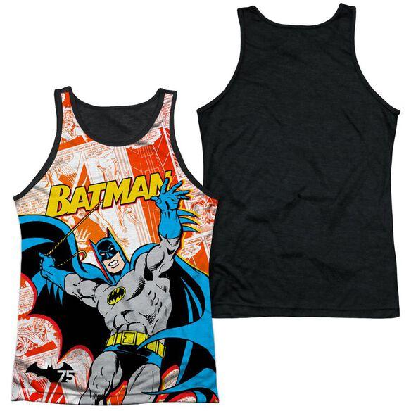 Batman 75 Panels Adult Poly Tank Top Black Back