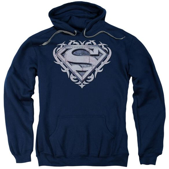 Superman Tribal Steel Shield Adult Pull Over Hoodie
