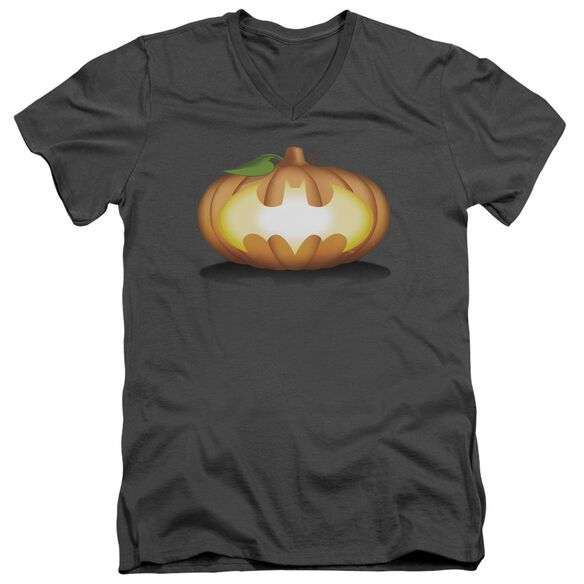 Batman Bat Pumpkin Logo Short Sleeve Adult V Neck T-Shirt