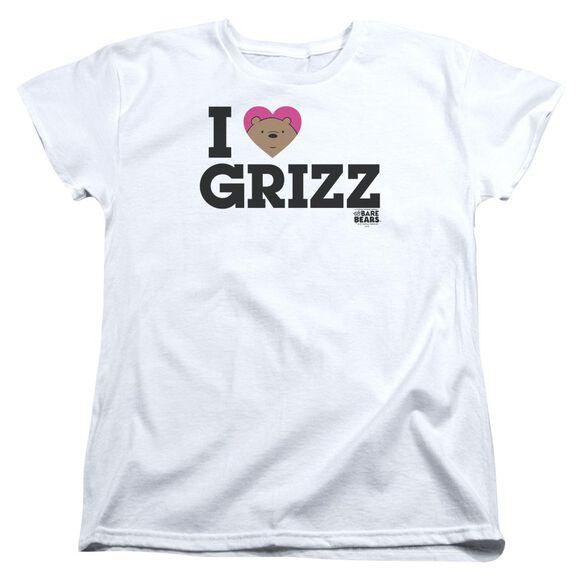 We Bare Bears Heart Grizz Short Sleeve Womens Tee White T-Shirt