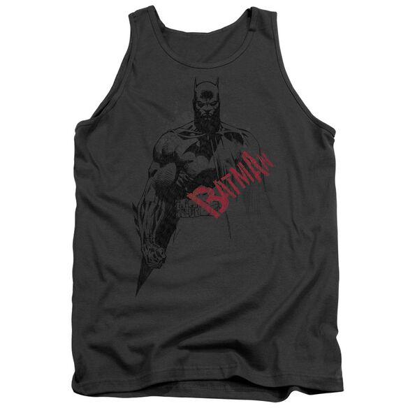 Batman Sketch Bat Red Logo Adult Tank