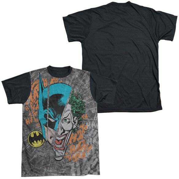 DC BROKEN VISAGE-S/S ADULT WHITE FRONT BLACK BACK T-Shirt