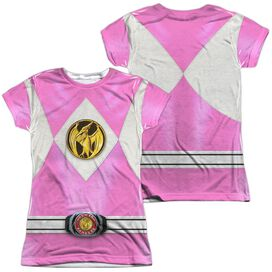 Power Rangers Pink Ranger Emblem (Front Back Print) Short Sleeve Junior Poly Crew T-Shirt