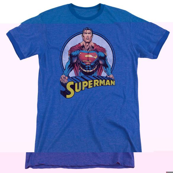 Superman Flying High Again - Adult Heather Ringer - Royal Blue